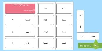 دومينوز مكونات العدد 20 - مكونات العدد، حساب، رياضيات، الجمع، الطرح، عربي، لعبة