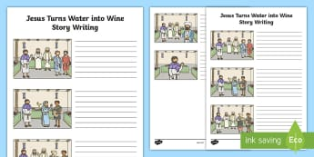 Jesus Turns Water into Wine Story Writing Activity Sheet - bible, miracle, story, stories, wine, God, Christian