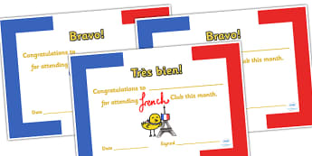 French Club Certificates - french club, certificates, reward, award, reward certificates, certificate template, behaviour management, class management