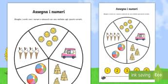 Assegna i numeri con le mollette Attività - conta, le, figure, numeri, 0, a 10, 5, matematica, italiano, italian, materiale, scolastico, elemnta