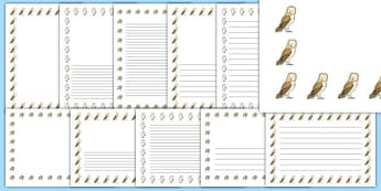 Owl Babies Page Borders - Owl Babies, Martin Waddell,  story, story book, story book resources, story sequencing, story resources, owl, family, PSHE, PSE, living things, Literacy, writing, page border, a4 border, template, writing aid, writing border