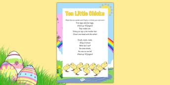 Ten Little Chicks Rhyme - chicks, spring, rhyme, ten little chicks, ten