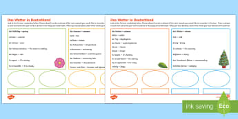 Weather in Germany Activity Sheet German - Weather, Word Mat, Wetter, German, German sentences, worksheet