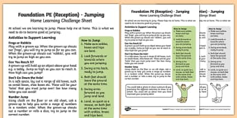 Foundation PE (Reception) - Jumping Home Learning Challenge Sheet - EYFS, PE, Physical Development