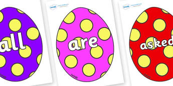Tricky Words on Easter Eggs (Spots) - Tricky words, DfES Letters and Sounds, Letters and sounds, display, words