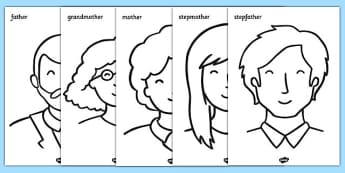 My Family Colouring Sheets - Colouring, fine motor skills, ourselves display, mum, dad, brother sister, grandpa, grandma, uncle, aunt,  KS1, ourselves, all about me, my body, senses, emotions, family, body, growth, granpa