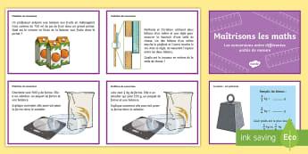 Cartes de défis de mathématiques : Conversions entre différentes unités de mesures - KS2, cycle 3, cycle 2, Cartes, défi, mathématiques, maths, challenge, cards, convertir, conversion