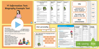 Y1 Information Texts: Biography Example Text - Example Texts Y1, Information Texts, Biography, exemplification, WAGOLL, exemplification, moderating