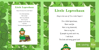 Little Leprechaun Rhyme - St Patricks day, little leprechaun, rhyme, song