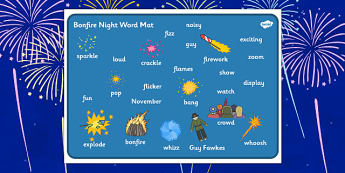 Bonfire Word Mat - Word mat, Bonfire, Fireworks Night, Guy, Autumn, A4, display, firework, bang, crackle, woosh, rocket, sparkler, catherine wheel, screech, whirl, fire, bonfire, leaves, gloves