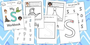 My Workbook S uppercase - workbook, S sound, uppercase, letters, alphabet, activity, handwriting, writing