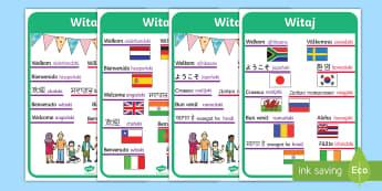 Plakaty Witaj w różnych językach - obce, obcy, język, języki, plakat, dzień, międzynarodowy, języków,Polish