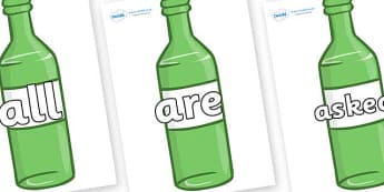 Tricky Words on Green Bottles - Tricky words, DfES Letters and Sounds, Letters and sounds, display, words
