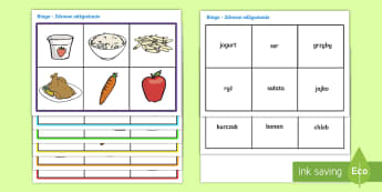 Bingo Zdrowe odżywianie - odżywianie, jedzenie, zdrowie, zdrowe, owoce, warzywa, zabawa, gra, bingo, żywność, jeść,Polis