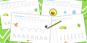 Pencil Control Sheets to Support Teaching on The Crunching Munching Caterpillar - story