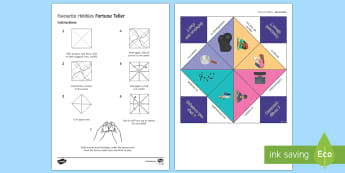 Favourite Hobbies Fortune Teller French Game - KS1, KS2, French, Resources, hobbies, game, fortune teller, drawing, reading, music,French