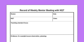 Record of Weekly Mentor Meeting with NQT - record, weekly, mentor meeting