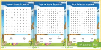 Easter Words Differentiated Word Search - Spring, KS2, Spanish, MFL, Easter, word, search, differentiated, worksheet, activity, sheet