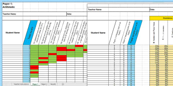 KS1 Mathematics Analysis Grid for 2016 SATs Sample Paper Assessment Spreadsheet - KS1 SATs, mathematics, maths SATs papers, sample papers grid analysis, KS1 2016 SATs sample maths, a