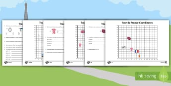 Year 4 Tour de France Coordinates Differentiated Activity Sheets - position, direction, maths, numeracy, geometry, cycling, co-ordinates, events