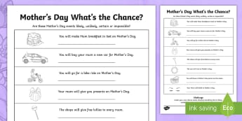 Year 2 Mother\'s Day What\'s the Chance? Activity Sheet - Mother's Day Maths, maths, mother, mother's day, mum, Year 2, Worksheet, statistics and probabilit