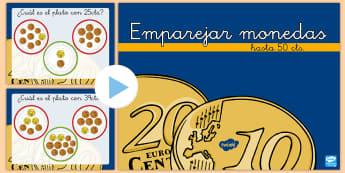 Presentación: Emparejar monedas - Hasta 50 céntimos - emparejar monedas, monedas, dinero, euros, presentación, powerpoint, power point, cambio, sumar, su