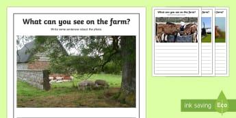 Farm Scene Writing Stimulus Photo Writing Frames - speaking, sentences, talk, write, image, practice, practise, talking, prompt, writting, creative wri