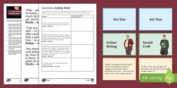 An Inspector Calls Key Quotations Pack