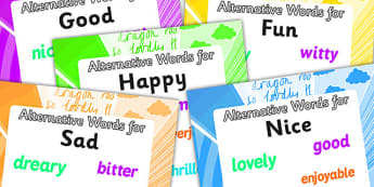 Alternative Words A4 Display Poster Pack - alternative words posters, alternative words poster pack, synonym posters, synonym poster pack, ks2 literacy
