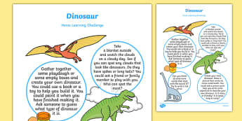 Dinosaurs Home Learning Challenge Sheet Nursery FS1
