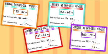 Subtract Two Digit Numbers Crossing 10 and 100 KS1 Math Challenge
