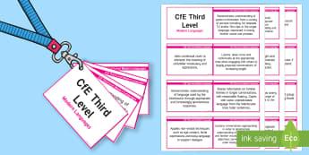 CfE Third Level Modern Languages Lanyard-Sized Benchmarks - CfE Benchmarks, tracking, assessing, progression, modern languages, modern foreign languages, mfl, m