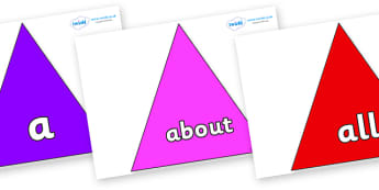 100 High Frequency Words on Triangles - High frequency words, hfw, DfES Letters and Sounds, Letters and Sounds, display words