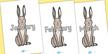 Months of the Year on Hare - Months of the Year, Months poster, Months display, display, poster, frieze, Months, month, January, February, March, April, May, June, July, August, September