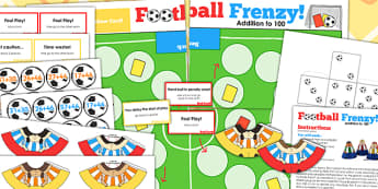 Addition To 100 Football Board Game - adding, world cup, sport
