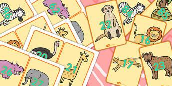 Safari KS1 0 100 Display Numbers on Safari Animals - numbers