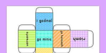 Adverbs of Frequency Dice Net Gaeilge - gaeilge, adverb, verbs, visual aids, literacy