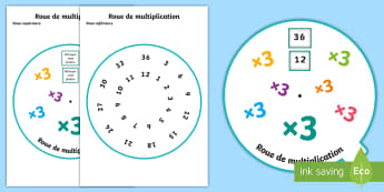 Roue de la multiplication par 3 - Mathématiques, Maths, cycle 2, cycle 3, KS2, multiplication, table de 3, multiplier, roue, 3 times