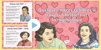 Présentation : Quelques femmes célèbres - La fête des mères - La fête des mères, cycle 3,  KS2, Mother's Day, 28th May, 28 mai, maman, women, femmes, célèbre
