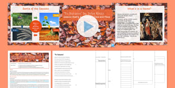 GCSE Poetry Lesson Pack  to Support Teaching on 'To Autumn' by John Keats - GCSE Poetry anthology, edexcel, to autumn, keats, romantics, ode, time and place