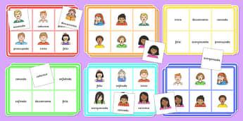 Bingo sentimientos - emotion, happy, sad, words, language, speech