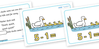 Five Little Ducks Number Sentence Frames - Five Little Ducks, nursery rhyme, rhyme,sequencing,  rhyming, numeracy, numbers, number sentence frame, frames, sentence, nursery rhyme story, nursery rhymes, counting rhymes, taking away, subtraction, Five