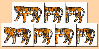 Months of the Year on Tigers - Months of the Year, Months poster, Months display, display, poster, frieze, Months, month, January, February, March, April, May, June, July, August, September