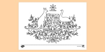 Australian Coat of Arms - Colouring Page - Australian coat of arms