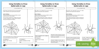 Using Variables to Draw Spiderwebs in Logo Differentiated Activity Sheet - worksheet, computing, Coding, program, algorithm, variable, procedure, spiderwebs, logo, repeat, sha