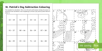 NI St. Patrick's Subtraction Colouring Activity Sheet - NI St. Patrick's Day Resources KS2, St. Patrick's Day, Naomh Pádraig, Colouring Activity, Subtrac