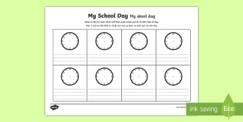My School Day Activity Sheet English/Afrikaans - timetable, daily routine, transition, rountines, Timw, trasition, bump up day, tranistion, tranition