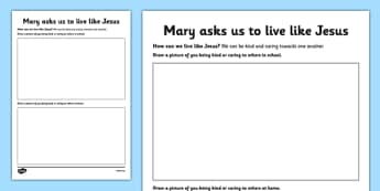Mary Asks Us to Live like Jesus Activity Sheet Junior - Mary, Our Lady, May, Mary in May, hail mary, religion, may altar, prayer, activity sheet, sacred space, worksheet