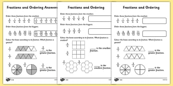 Fractions and Ordering Activity Sheet Differentiated - fractions, ordering fractions, putting fractions in order, ordering fractions worksheets, greater and smaller fractions