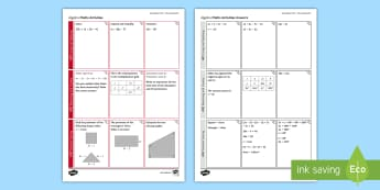 Foundation: Algebra (Non-Calculator) Revision Activity Mat - Secondary - Maths - Exams MatsRevision, Foundation, KS4, Algebra, Non-Calculator, Using and Applying